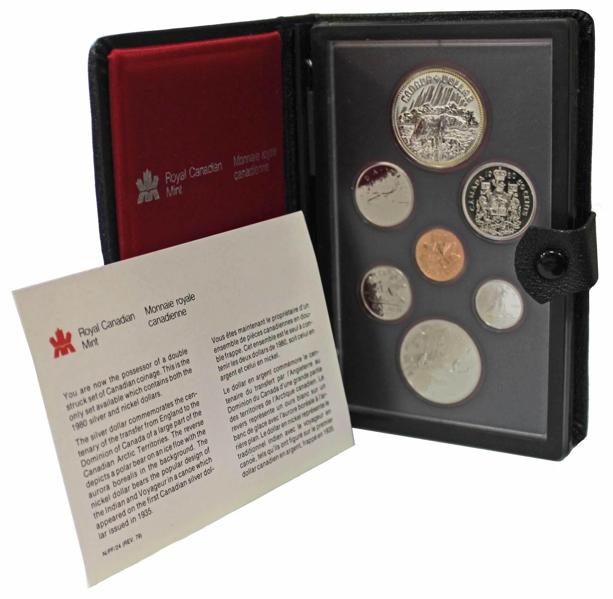 Набор монет Канады 1980 год, в кожаном футляре (Серебро, никель, бронза). PROOF