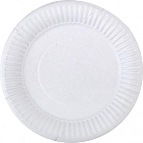 Тарелка одноразовая бумажная белая 165 мм 100 штук в упаковке