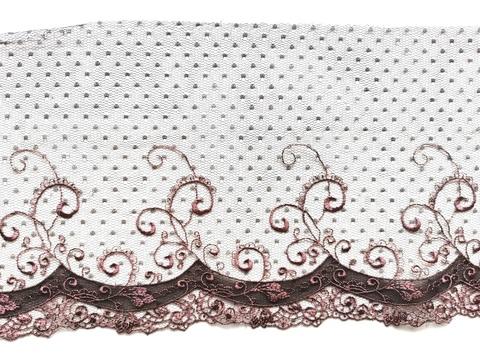 Вышивка на сетке, ЛЕВАЯ, 18 см, шоколад/кофейно-розовый, (Артикул: VS-1007), м
