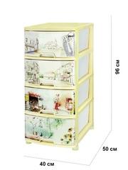 Комод с рисунком №8 Ренессанс 4-х секционный молочный из пластика Эльфпласт 40х50х96 см