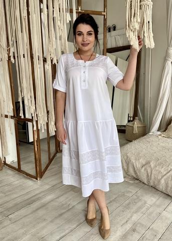 Любава. Романтична комбінована сукня великих розмірів. Білий
