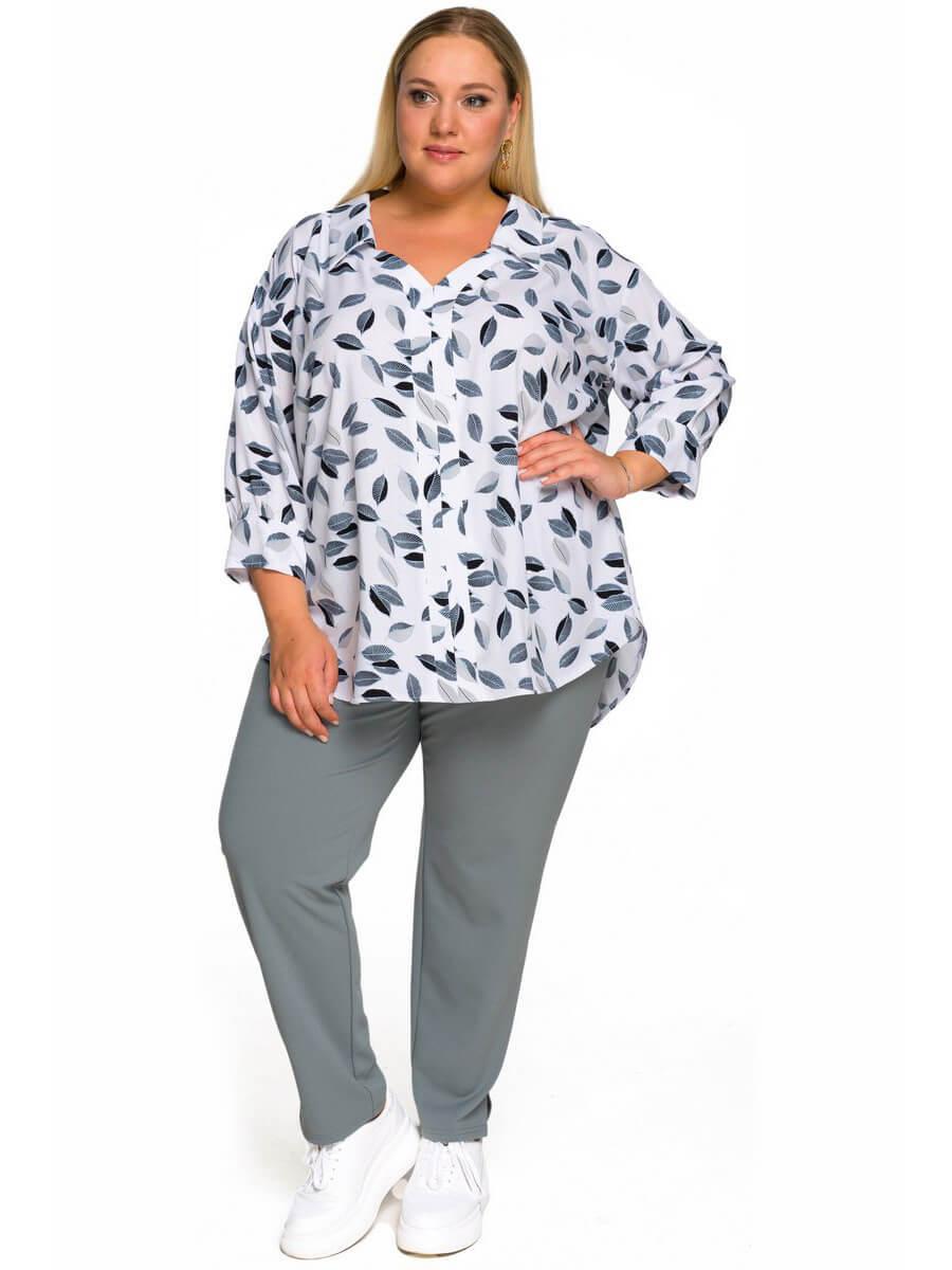 Рубашка из штапеля Листочки на белом