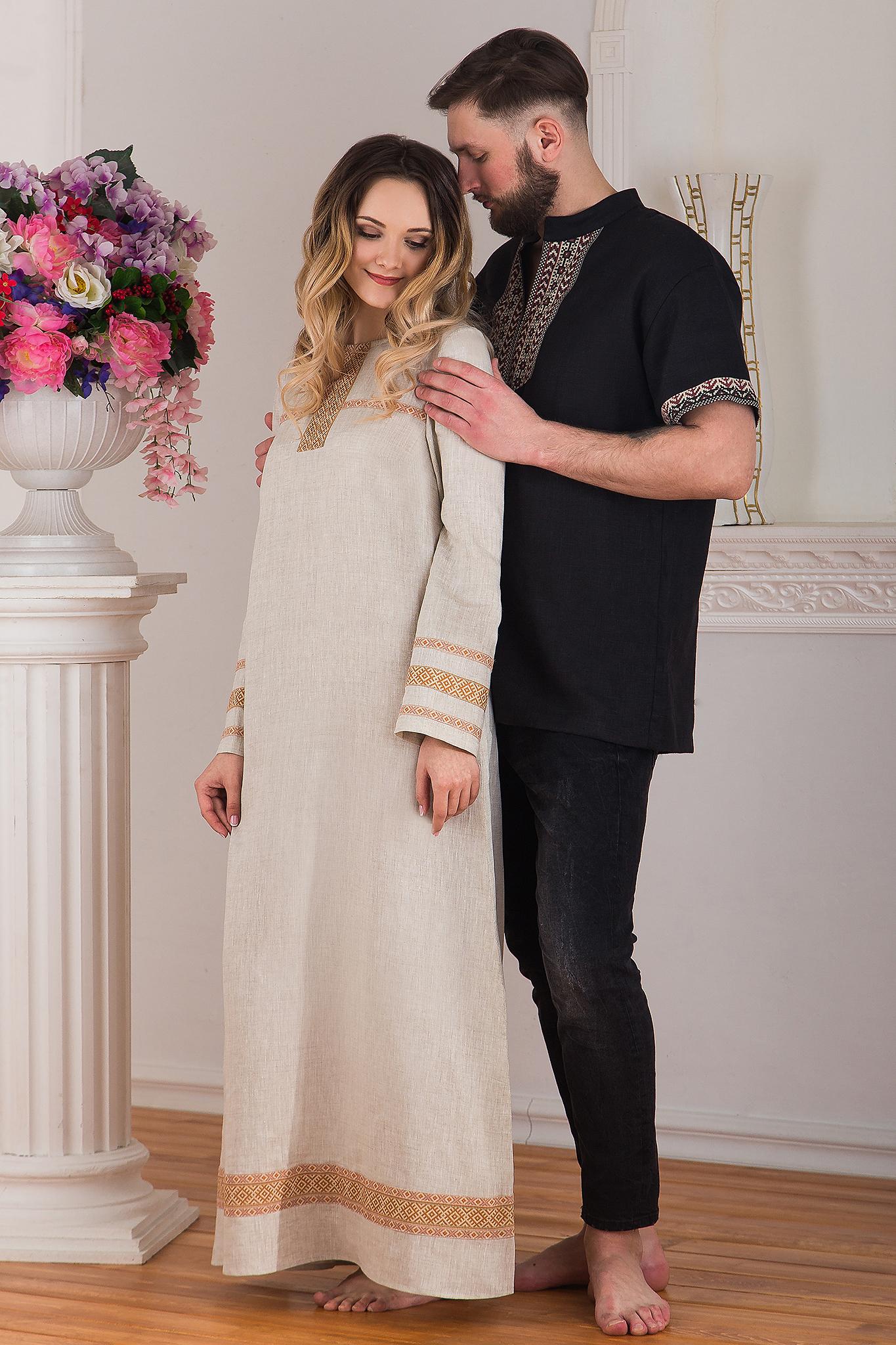 Платье льняное традиционное купить в интернет-магазине Иванка с мужчиной