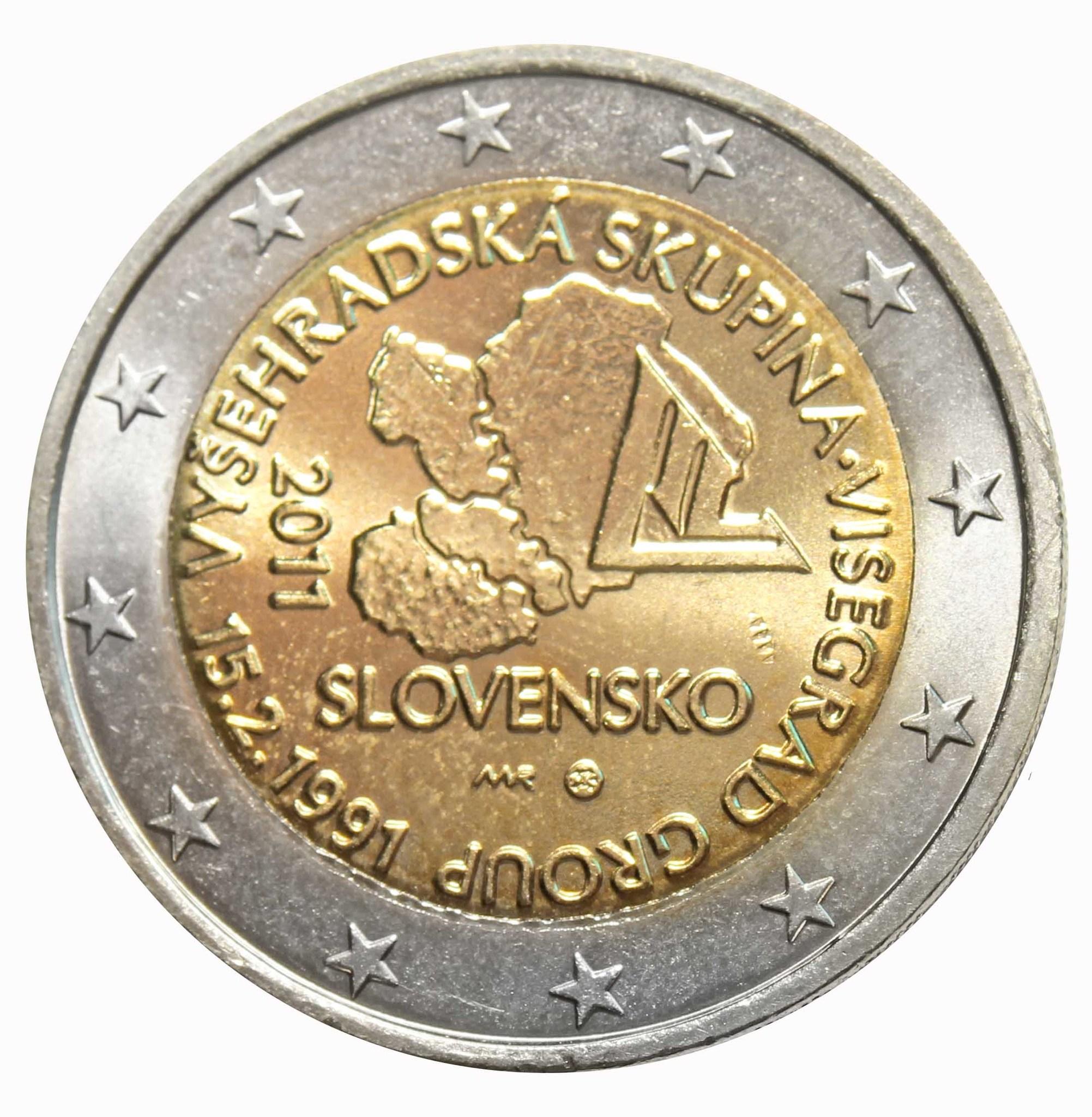 """2 евро """"20 лет формирования Вишеградской группы"""" 2011 год."""