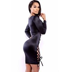 Сексуальное платье с шнуровкой (черный) one size