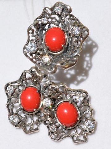 Мидия  (кольцо + серьги из серебра)
