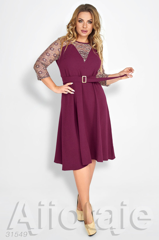 Платье миди цвета марсала с поясом
