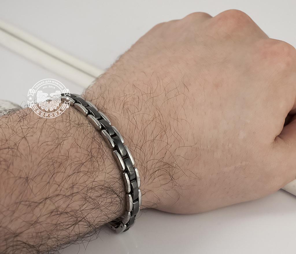 BM347 Стильный браслет из стали со звеньями черного цвета (19,5 см) фото 06