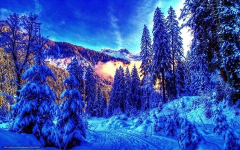 Алмазная Мозаика + Багет 30x40 Зима в горах