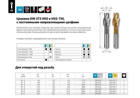 Цековка (под резьбу) Ruko DIN373 HSS M8 6,8/15 мм 102419