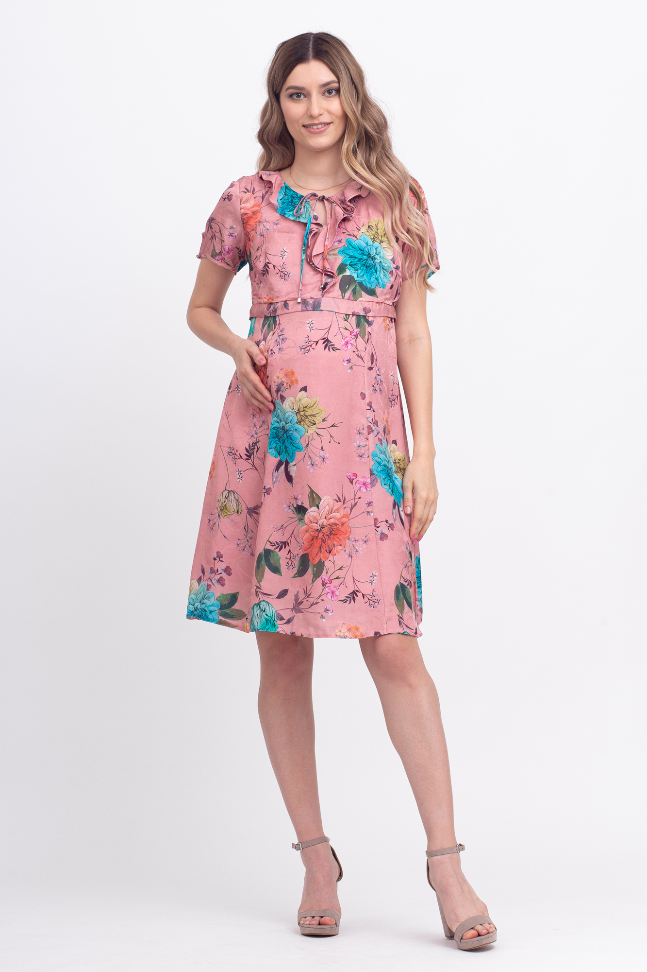 Платье для беременных и кормящих 09599 пудра