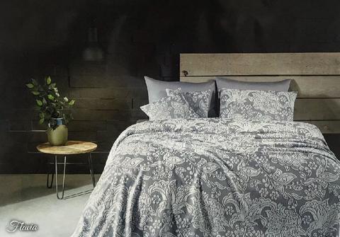 Покрывало махровое пике 2-спальное Tivolyo home FLAVIA 220х240 см синее