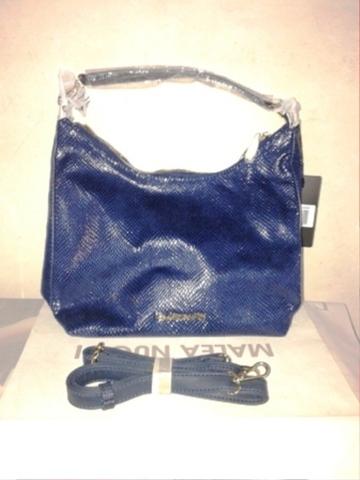 Синяя сумка-ковш из эко-кожи с дополнительным длинным ремешком