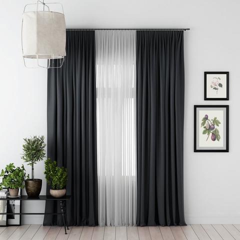 Комплект штор и тюль Джина блэкаут черный