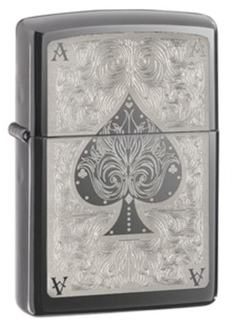 Зажигалка Zippo Classic с покрытием Black Ice, латунь/сталь, чёрная, глянцевая, 36x12x56 мм