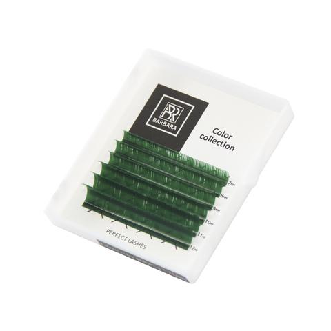 Цветные ресницы BARBARA (зеленые) МИНИ-МИКС (6 линий) (D 0.10 7-12)