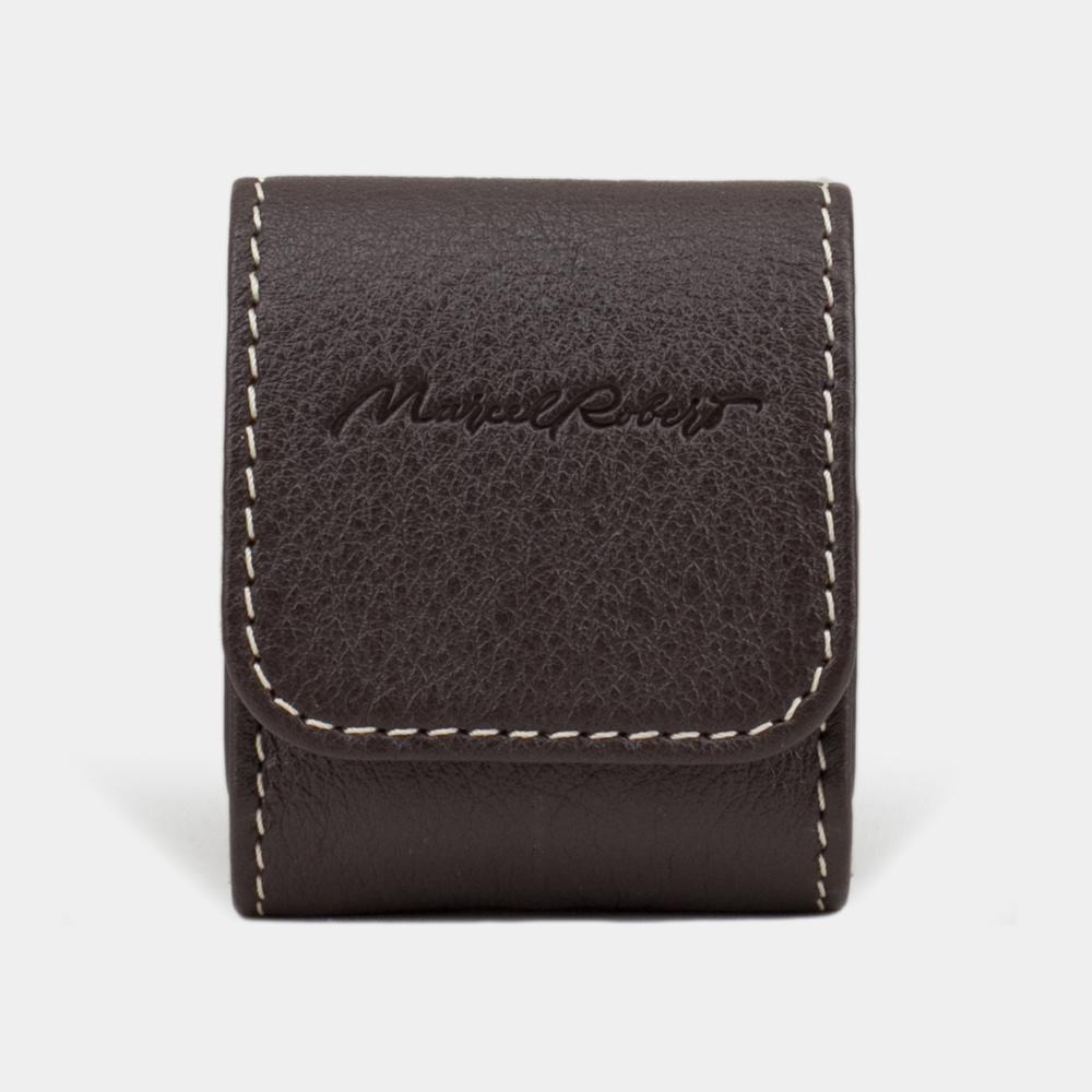 Чехол-держатель для наушников Petit Easy из натуральной кожи теленка, темно-коричневого цвета