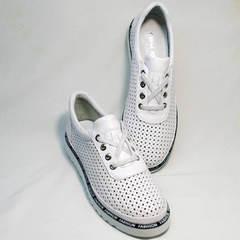 Перфорированные туфли большого размера женские Evromoda 215.314 All White.