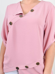 Гайя. Летняя блузка плюс сайз. Пудра.