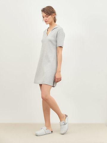 Женское платье серого цвета из вискозы - фото 2