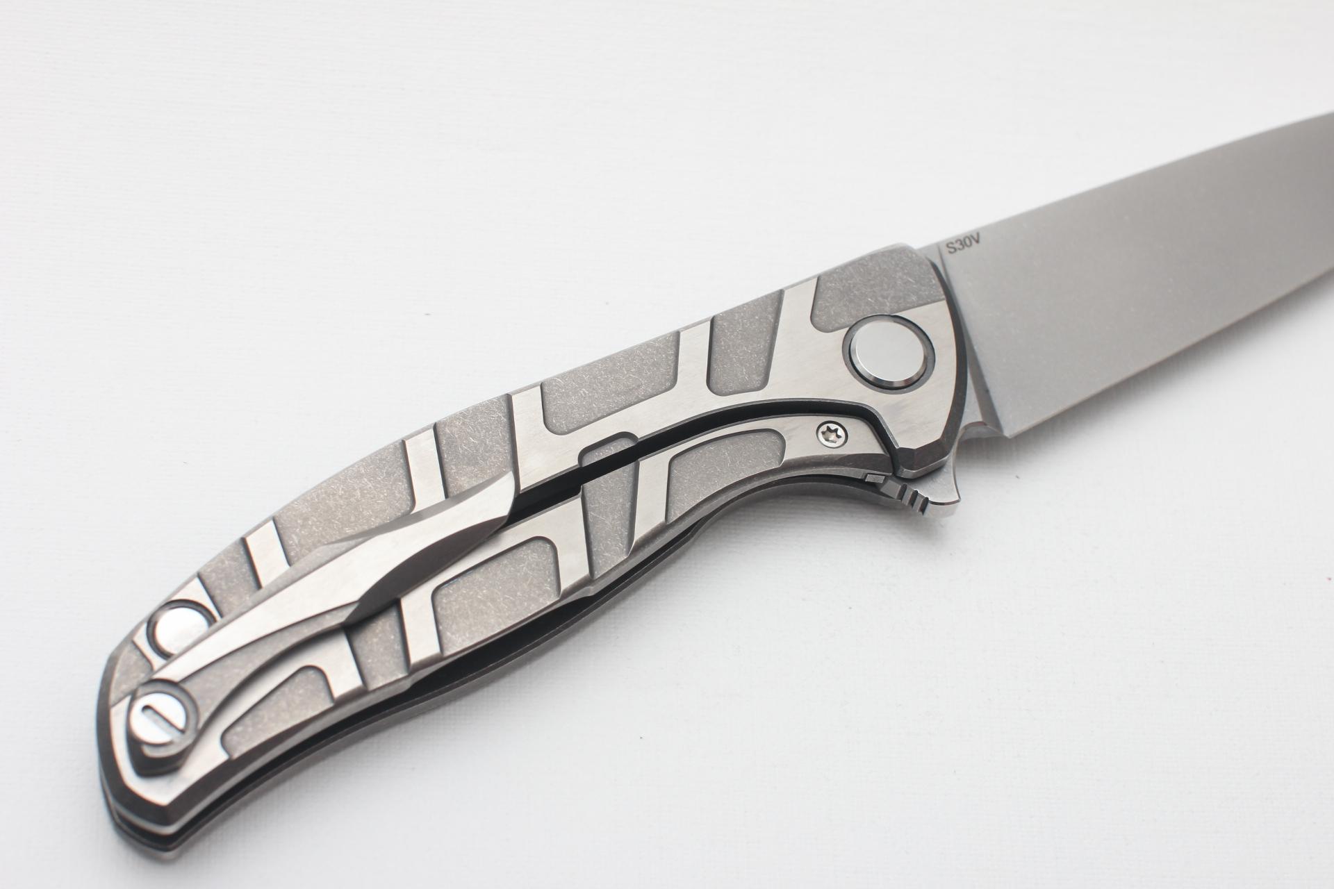 Нож Широгоров Flipper 95 S30V Т узор сатинирование подшипники - фотография