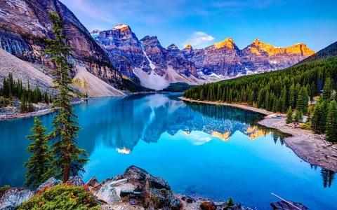 Алмазная Мозаика + Багет 30x40 Озеро в горах