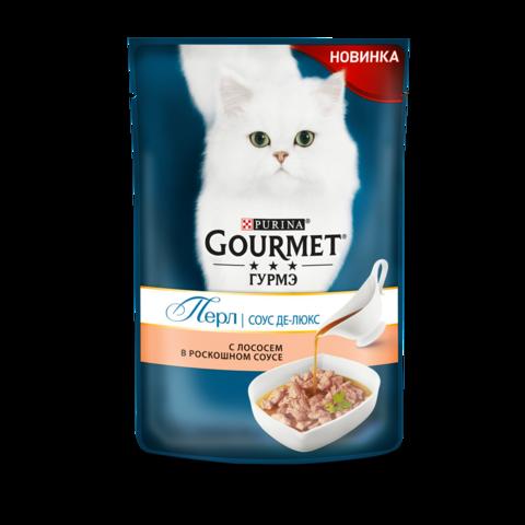 Gourmet Perle Консервы для кошек с Лососем в роскошном соусе Де-люкс (Пауч)