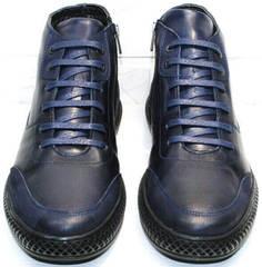 Кожаные зимние ботинки на шнурках мужские Luciano Bellini BC2802 L Blue.
