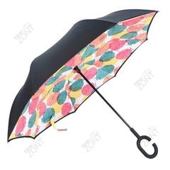 Обратный зонт трость цветные листья механика