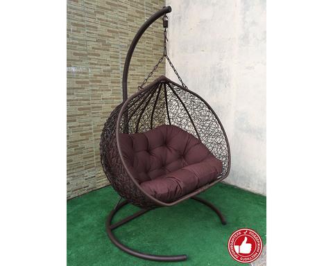 Кресло качели двухместные Сомбрерро коричневые