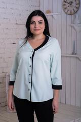 Ольга. Стильна комбінована блуза. М'ята