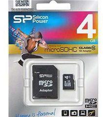 Карта памяти Silicon Power microSDHC 4Gb Class 10