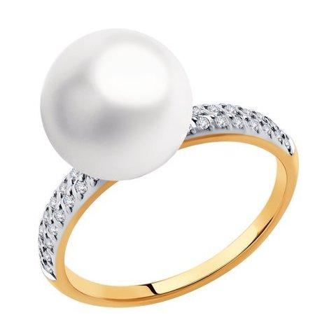 791167 - Кольцо из золота с жемчугом и фианитами Swarovski
