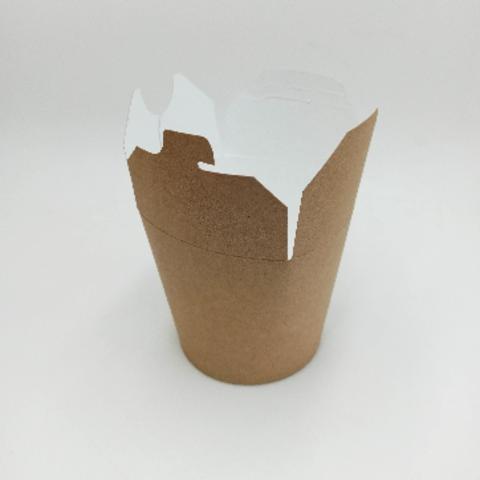 Коробка для лапши вок с круглым дном, 450 мл (d88 h92), крафт