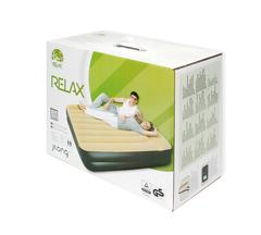 Кровать-матрас надувной Relax High Raised Air Bed Queen с электронасосом 203x157x47 бежевый - 2