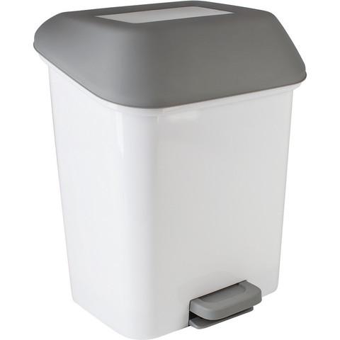 Контейнер для мусора с педалью  Квадра 15 л белый