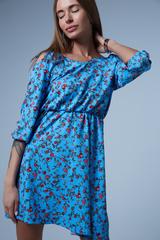 голубое платье в мелкий цветочек nadya