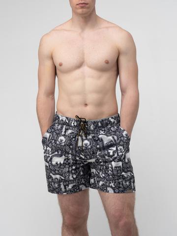 Пляжные шорты «Ночная тайга»