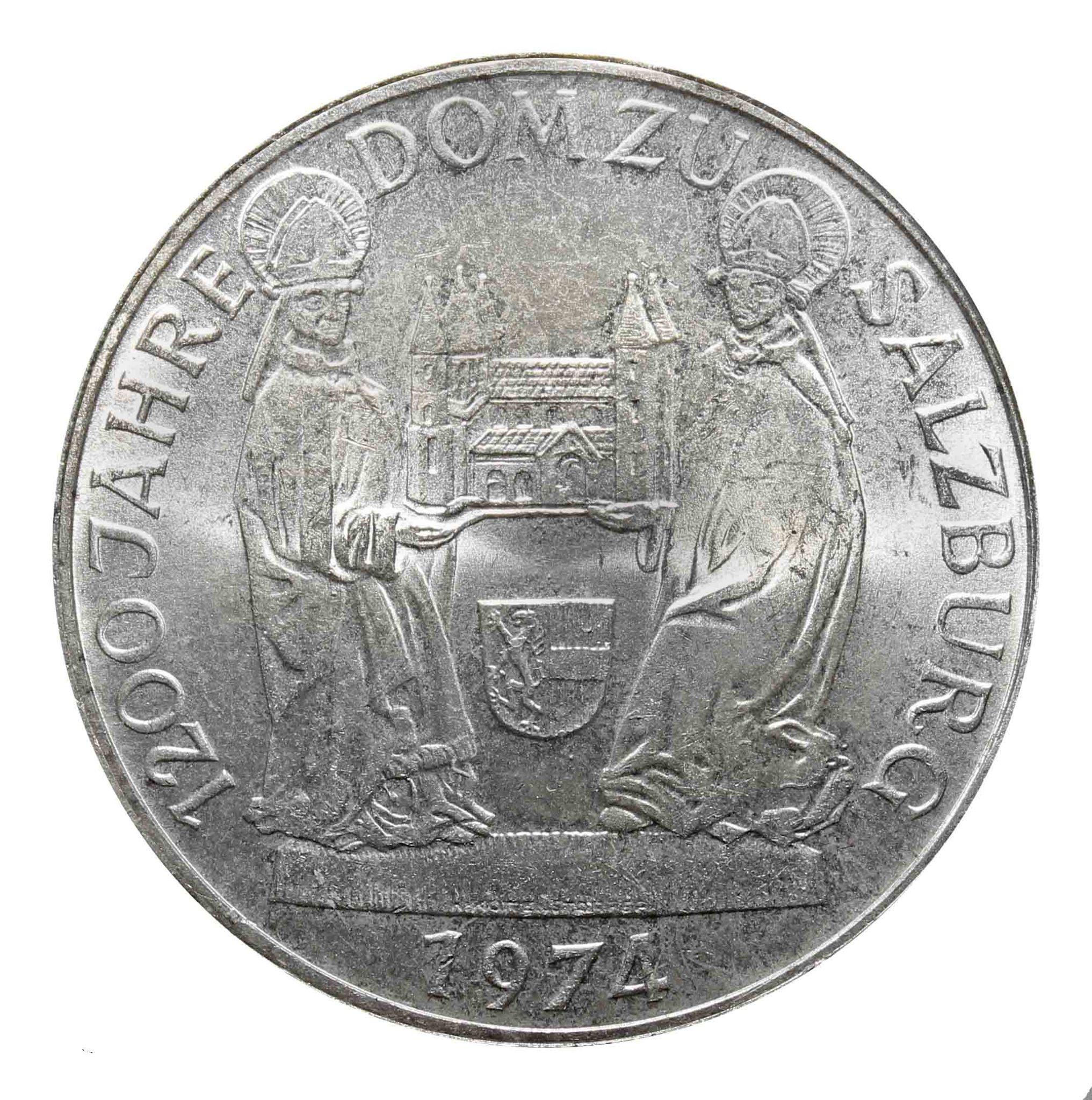 50 шиллингов. 1200 лет Зальцбургскому собору. Австрия. 1974 год. Серебро. AU