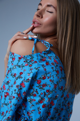 голубое платье в мелкий цветочек магазин