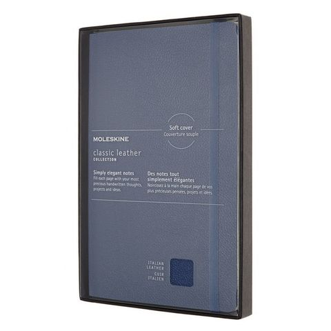 Блокнот Moleskine LIMITED EDITION LEATHER LCLH31SB41BOX Large 130х210мм натур. кожа 192стр. линейка мягкая обложка синий
