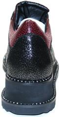 Женские туфли на плоской подошве. Бордовые туфли на низкой танкетке. Кожаные туфли в спортивном стиле Evromoda Bordo..
