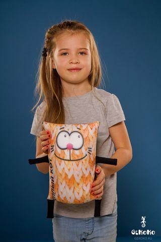 Подушка-игрушка антистресс Gekoko «Теплый кот», оранжевый