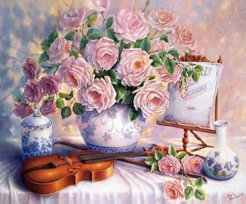 Алмазная Мозаика 40x50 Цветы и скрипка (арт. S134 )