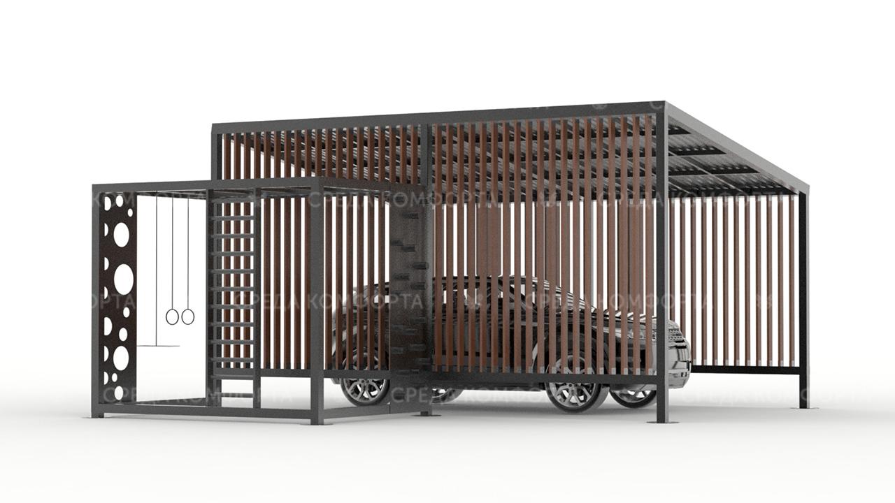 Навес для автомобиля с элементами детской площадки AVNVS0046
