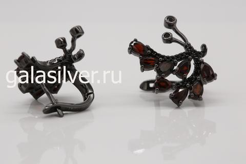 Серьги с гранатом и нано кристаллами серебро 925