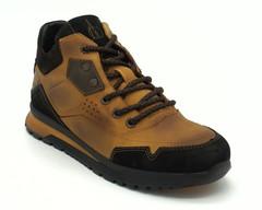 Зимние мужские ботинки из натурального нубука рыжего цвета