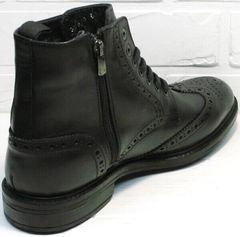Кожаные ботинки зимние мужские классика LucianoBelliniBC3801L-Black .