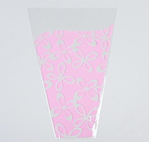 Пакет цветочный Конус Милана цветной рисунок 30/40 светло-розовый (упаковка: 50 шт.)