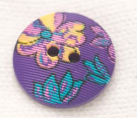 Пуговица с цветами, фиолетовая, 18 мм